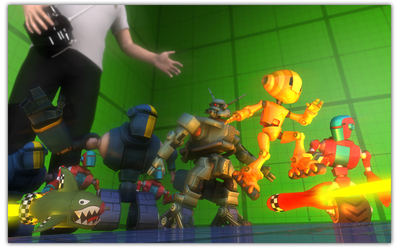 Render of all the robots plus anemies with a human controller